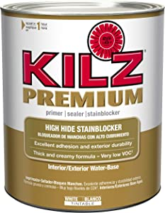 KILZ Premium High-Hide Stain Blocking Interior/Exterior Latex Primer/Sealer, White, 1 quart