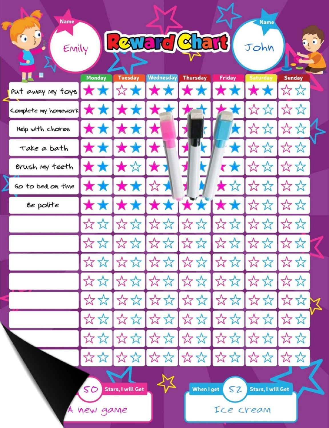 Magnetic Reward Behavior Star Chore Chart for One or Two Kids 17 x 13 Includes: 3 Color Dry Erase Markers Pink, Blue, & Black, Flexible Chart with Full Magnet Backing for Fridge Teaches Responsibility