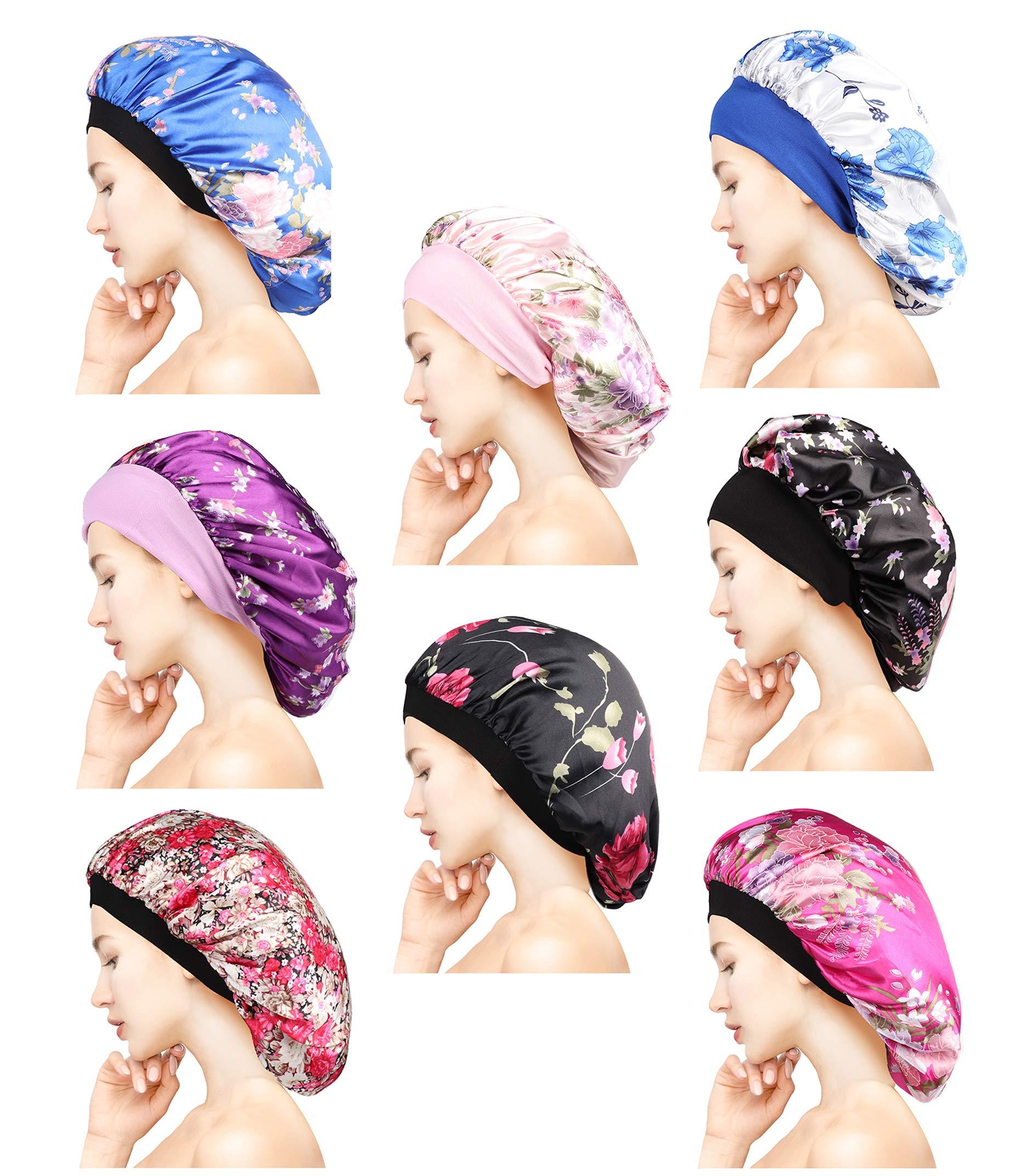 Adramata 8 Pieces Satin Bonnet Night Sleep Cap Sleeping Head Cover for Women Girl Sleeping Set