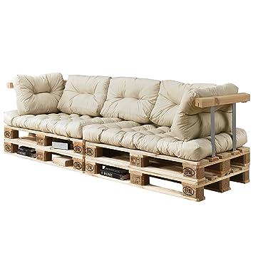 [en.casa]®] Set de 7 Cojines para sofá-palé - Cojines de Asiento + Cojines de Respaldo Acolchados [Beige] para europalé In/Outdoor