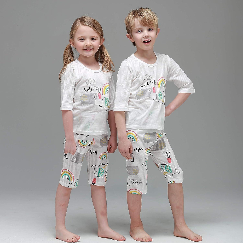 MiNiK Toddler Kids Boys Girls Cotton Summer Pajama Set 3//4 Sleeve 2 Pieces Set