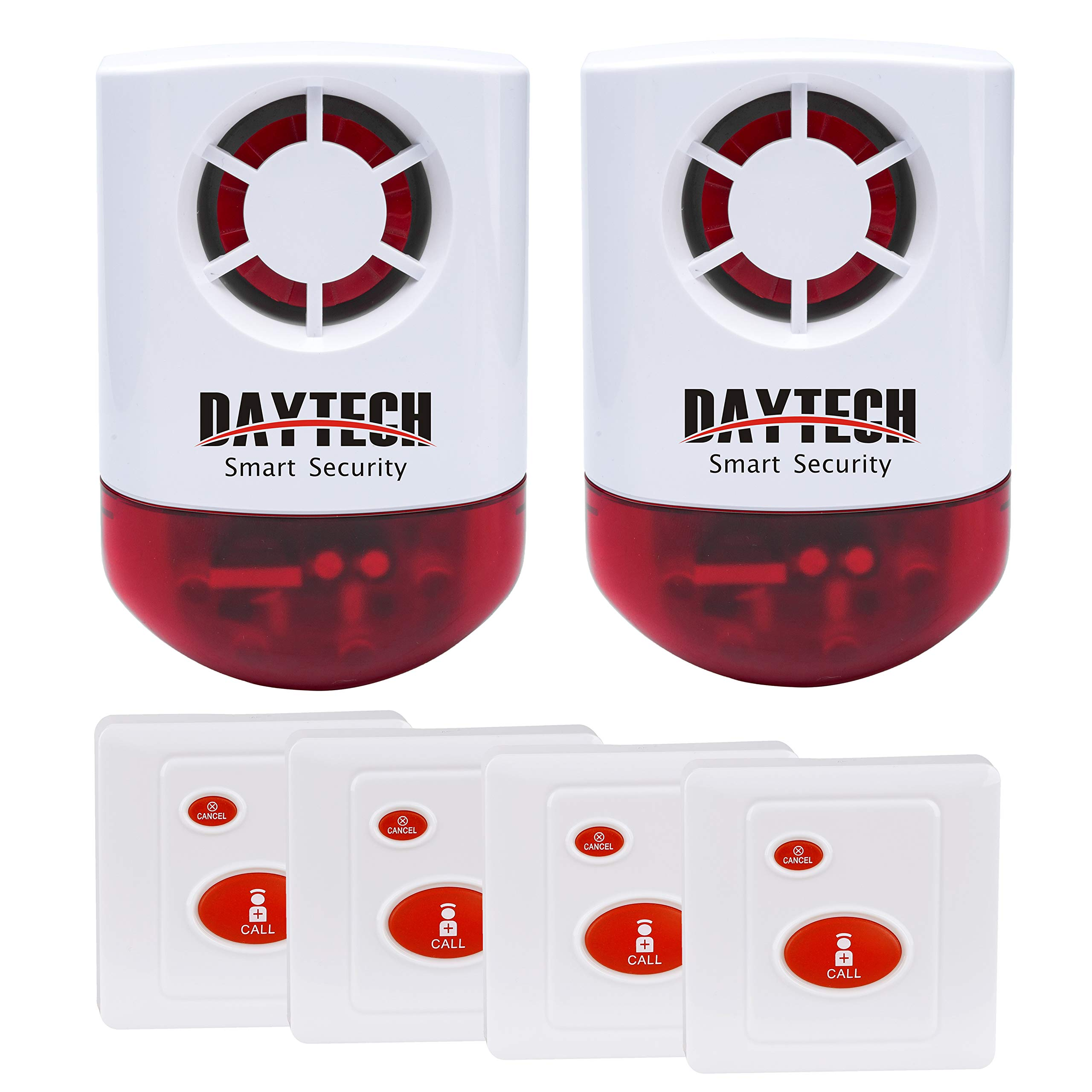 Daytech Wireless Strobe Siren Alarm Home Caring Loud Outdoor SOS Alert System 2 Red Flashing Siren and 4 Emergency Button for Store Home Hotel Jewelry Shop Security & Fire Alarm by Daytech
