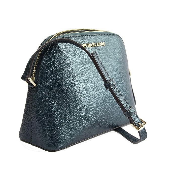 ec9e3d29dfbe Michael Kors Adele Deep Teal Iridescent Leather Medium Dome Crossbody   Handbags  Amazon.com