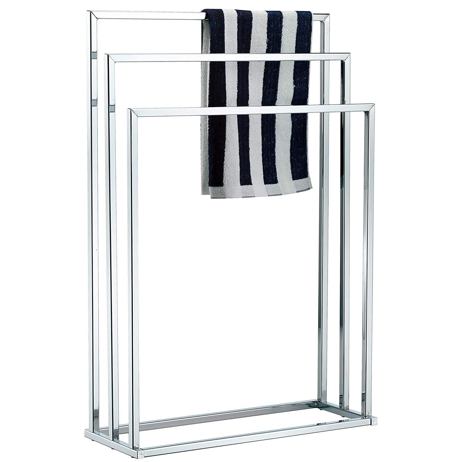 MyGift Freestanding Towel Rack, 3 Tier Metal Towel Bar Stand, Silver-Tone Chrome Plated