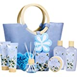 Spa Gift Set for Women- 10pcs Cotton Scent Gift Box in Exquisite Tote Bag, Shower Gel, Bath Salts, Reed Diffuser, Best Gift B