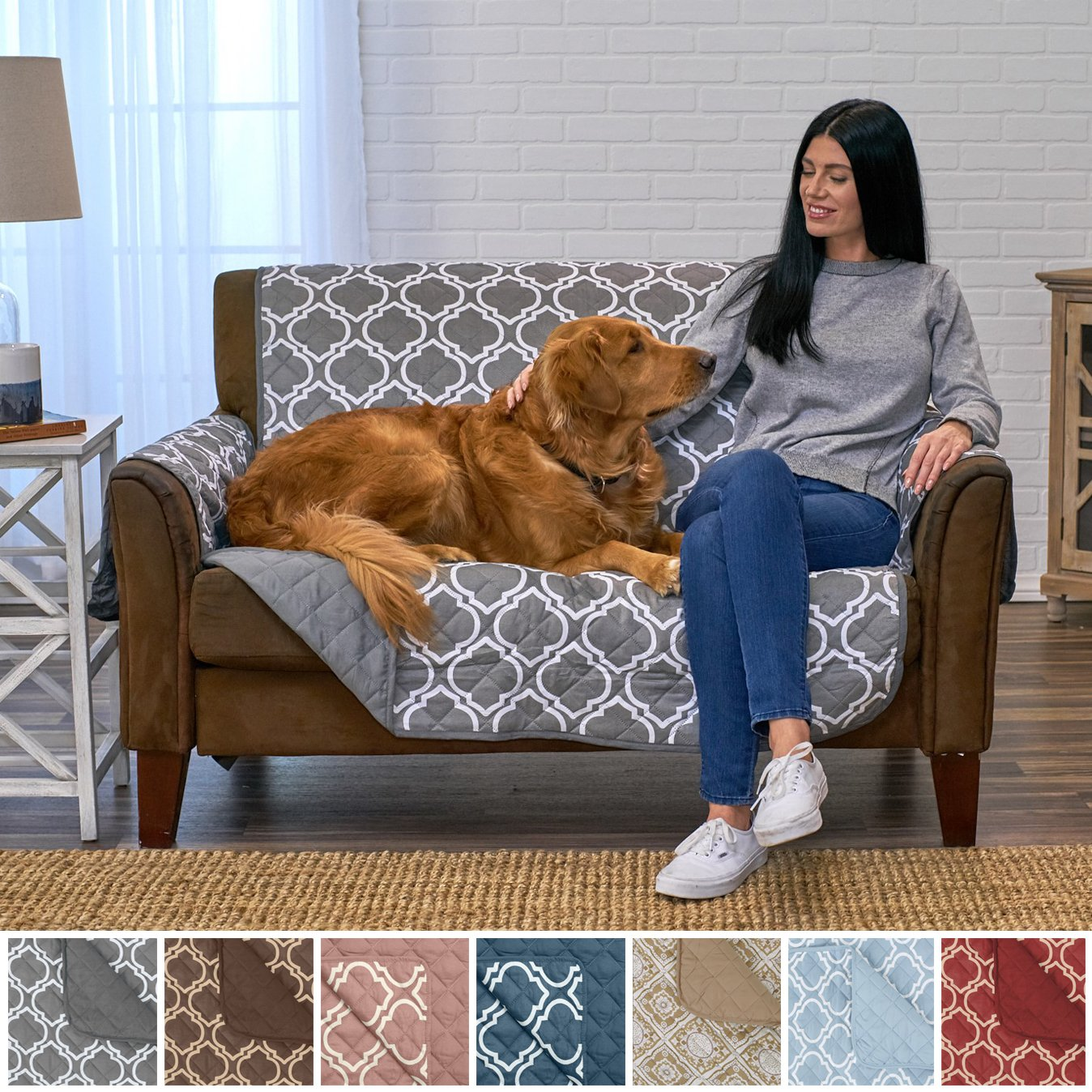 Home Fashion Designs Adalyn Collection Deluxe Reversible Quilted Furniture Protector. Beautiful Print on One Side/Solid Color on the Other for Two Fresh Looks. By Brand. (Loveseat, Charcoal)