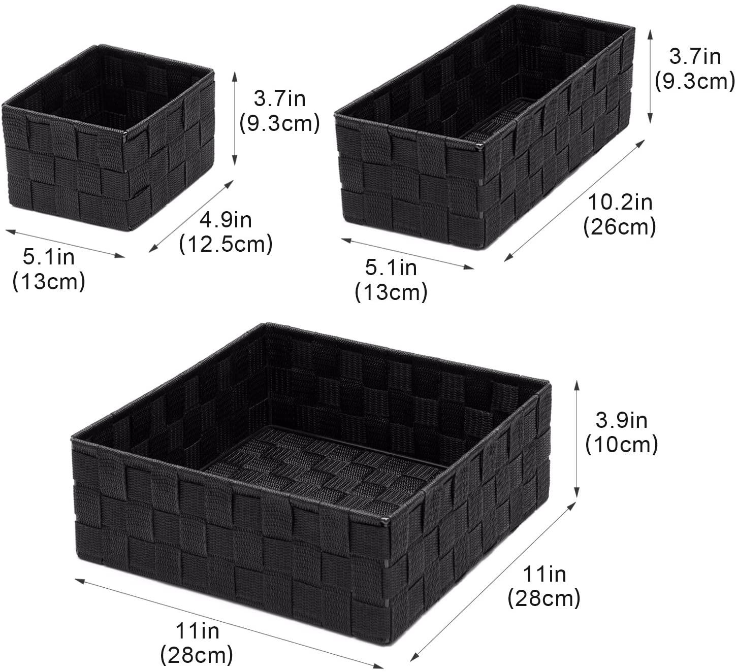 Black Dresser,Set of 4 Woven Storage Box Cube Basket Bin Container Tote Organizer Divider for Drawer,Closet,Shelf