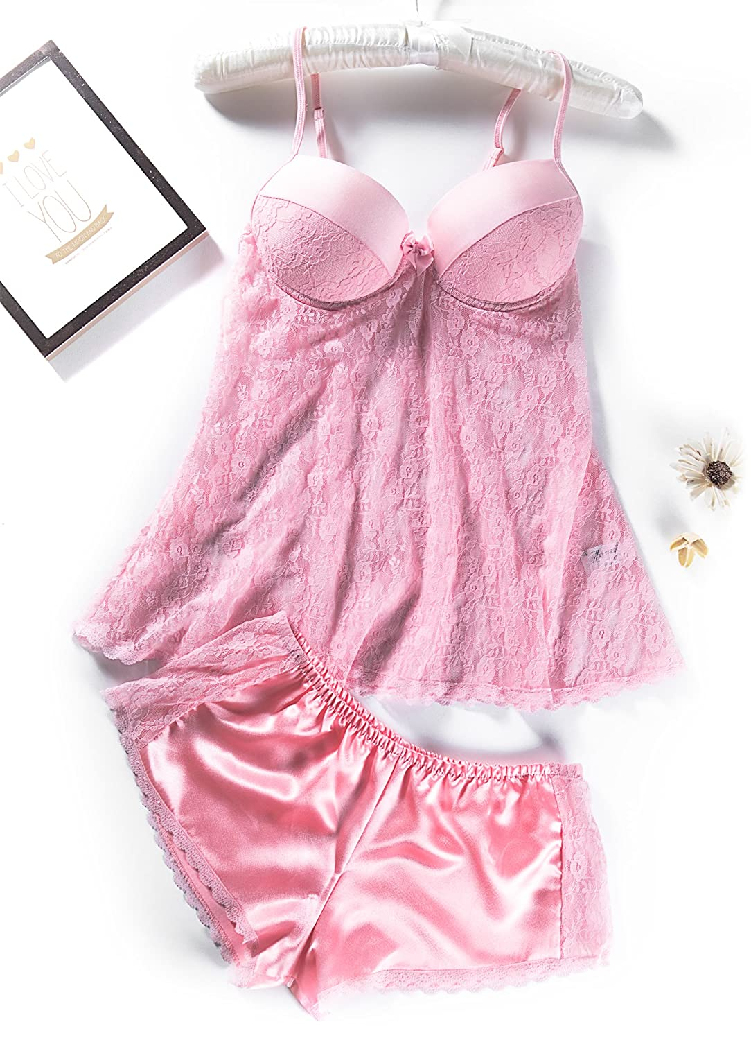 571fb096a8e A set of high quality beautiful classic very elegant mesh lace with G-string  babydoll with strap nightwear
