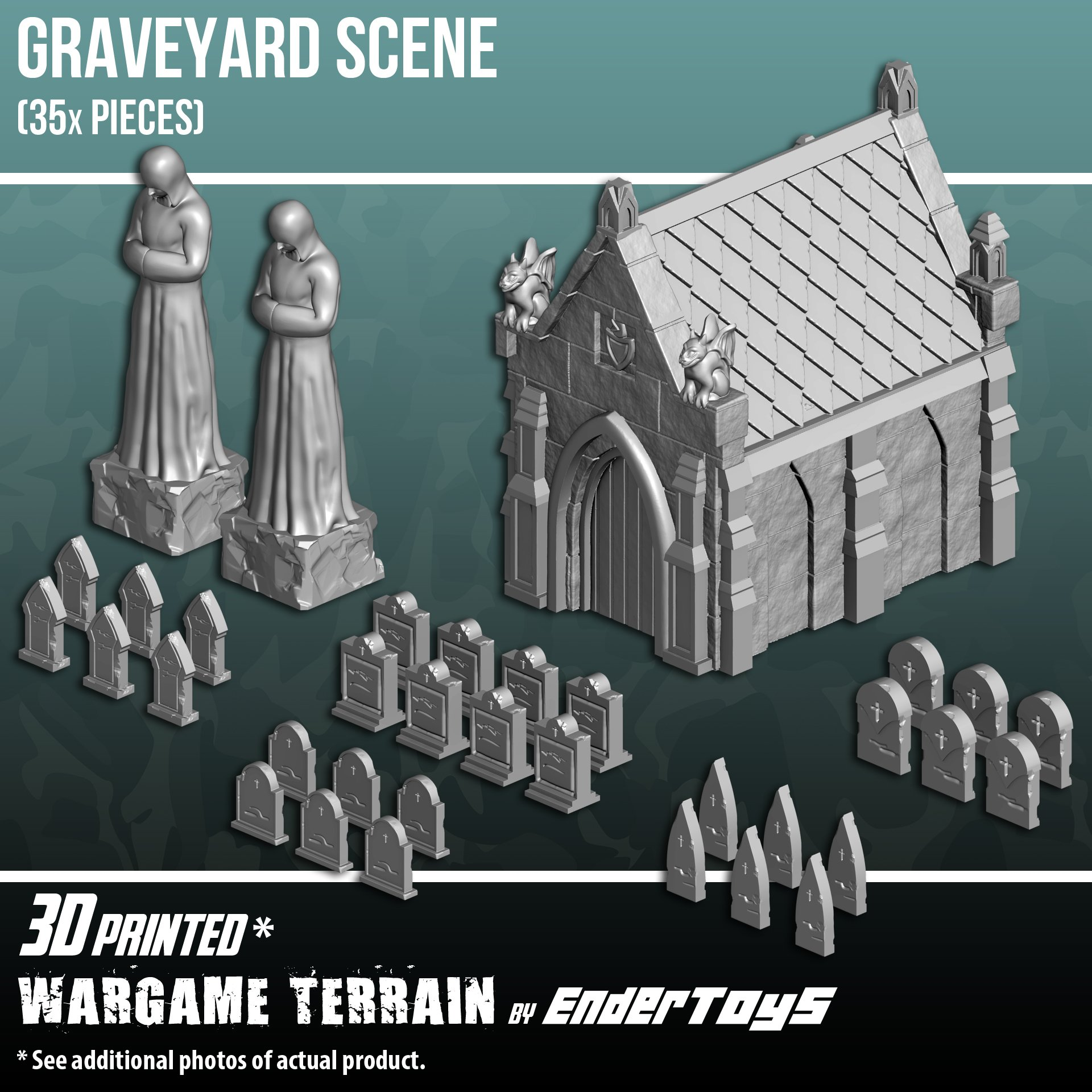 EnderToys Mausoleum Graveyard Scene, Terrain Scenery for Tabletop 28mm Miniatures Wargame, 3D Printed and Paintable