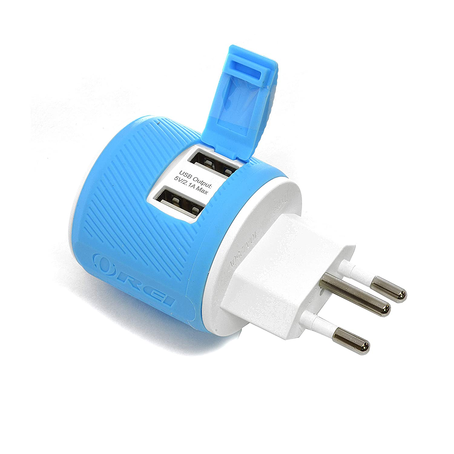 Orei Most of Europe Travel Plug Adapter - Dual USB - Surge Protection - Type C U2U-9C