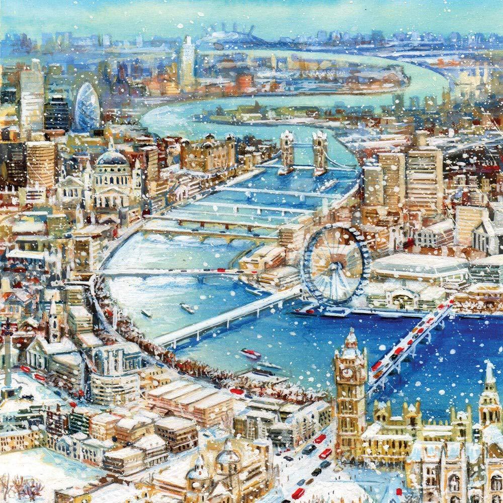 Charity Christmas Cards London Winter Scene Gloss Finish - Pack 5 Tracks Publishing