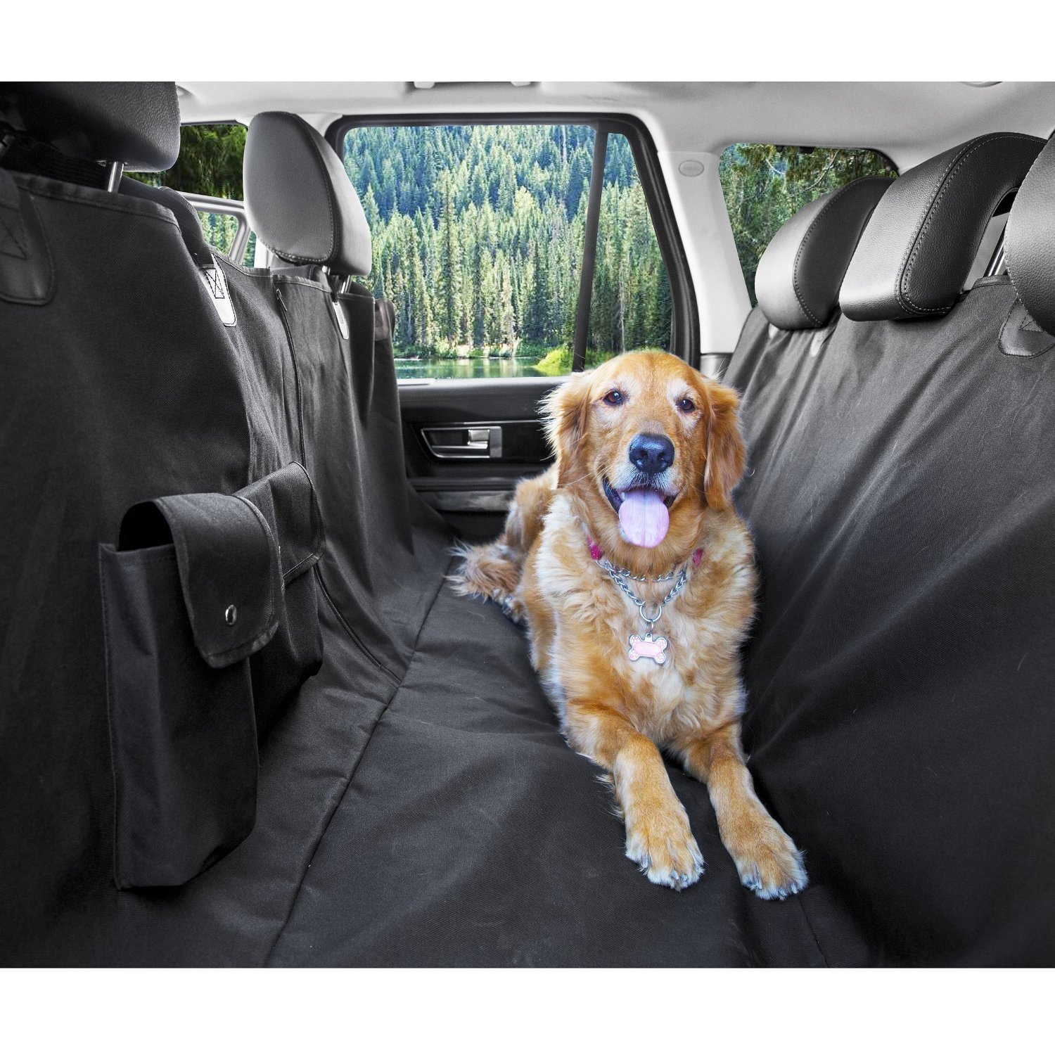 Dog Hammock Car Bench Seat Cover Rear Seat Protector for Pets 47 x 56 Inches Pettom Waterproof Dog Seat Cover Washable Back Seat Dog Cover for Cars A Free Pet Car Safety Seat Belt