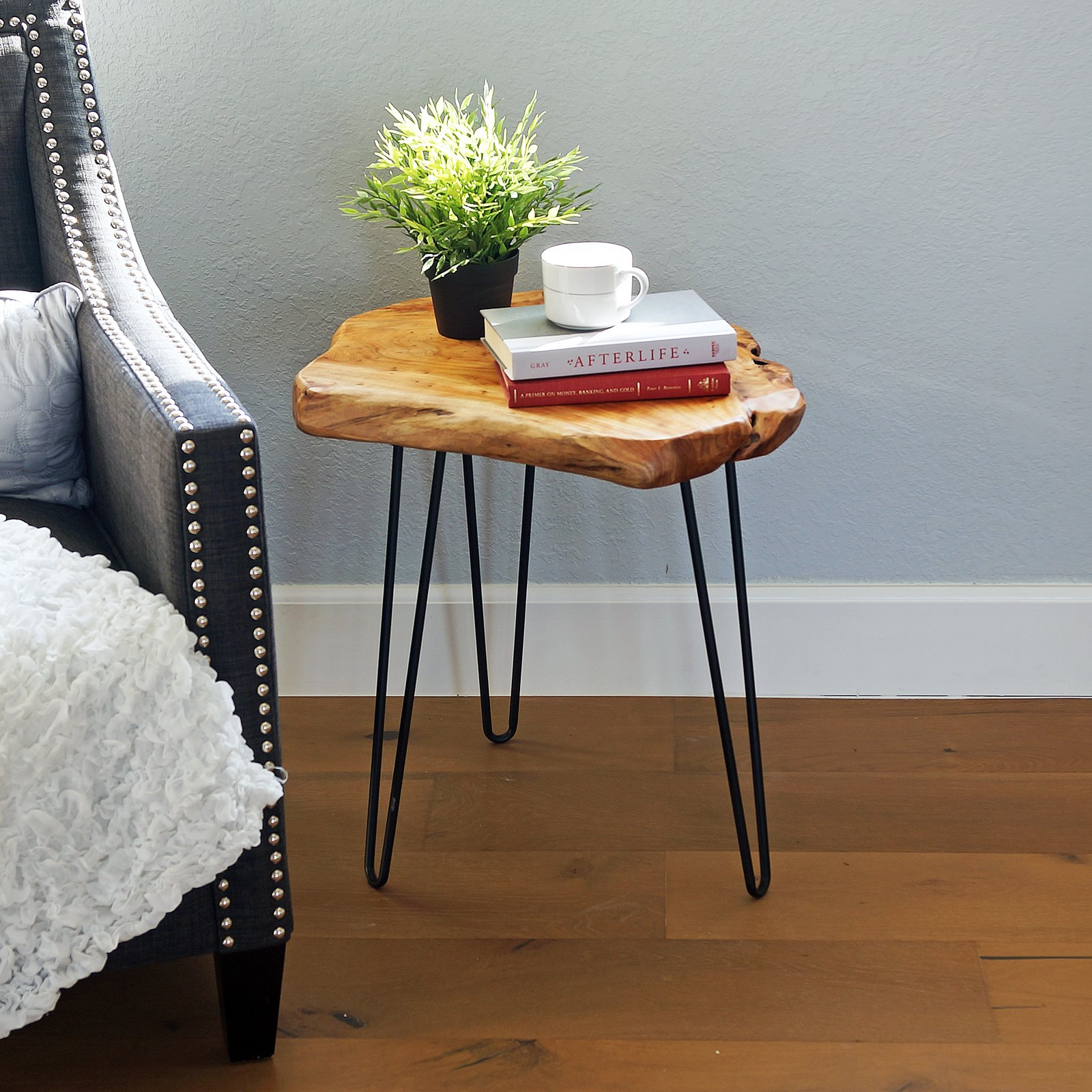 WELLAND Natural Edge End Table, Wood Side Table, Nightstand, Plant Stand 19'' Tall