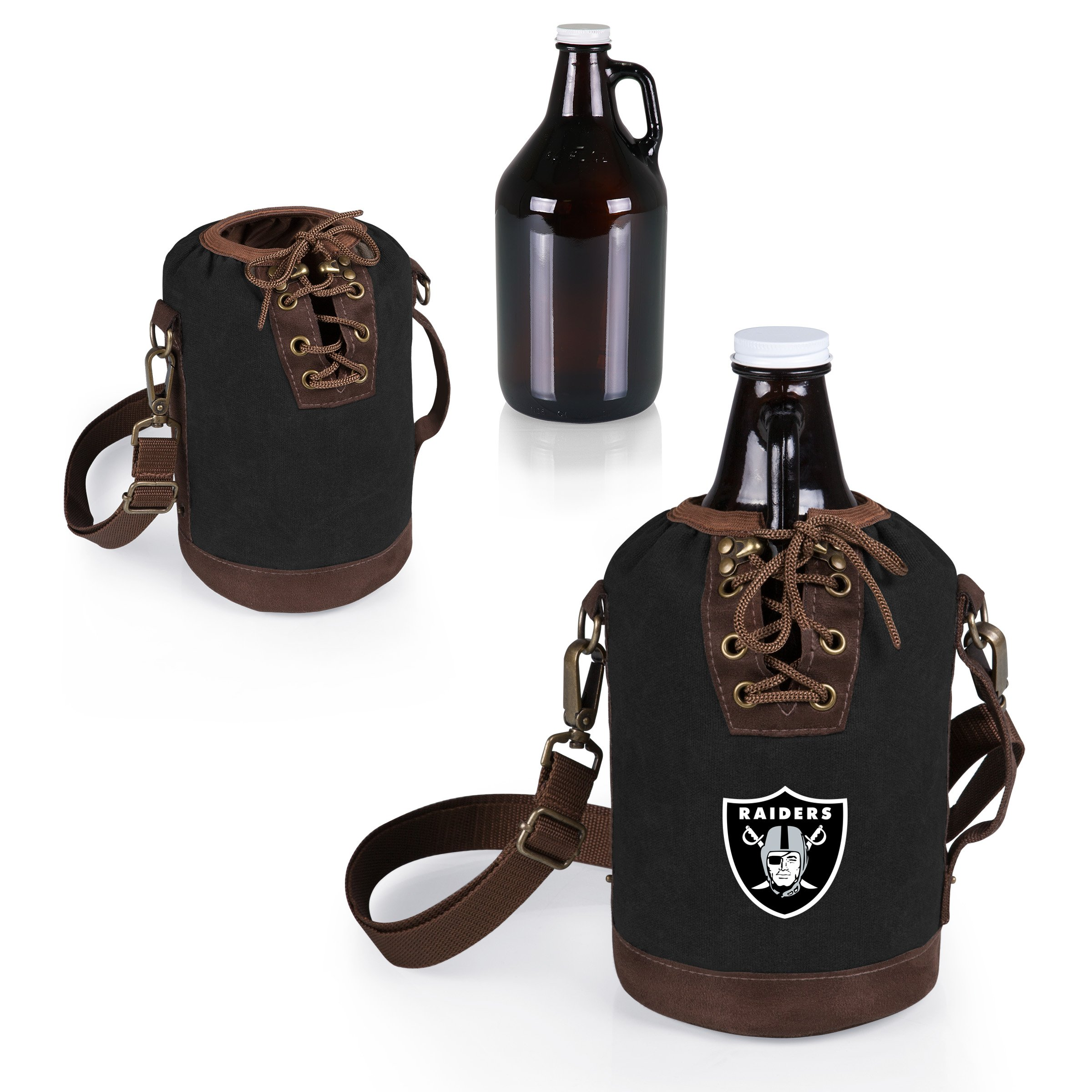 PICNIC TIME NFL Oakland Raiders Canvas Lace-up Growler Tote with 64 oz Amber Glass Growler, Black by PICNIC TIME (Image #2)