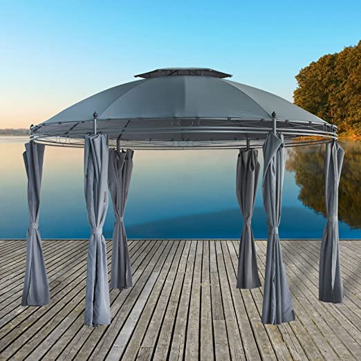 Carpa para fiestas, diseño, redondo, hecho de metal recubierto de polvo de 3,5 m de Jardín con techo impermeable