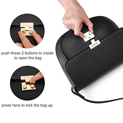 ec139fa9f20c ... Black ECOSUSI Women Crossbody Saddle Bags Shoulder Purse with Flap Top    Phone Pocket