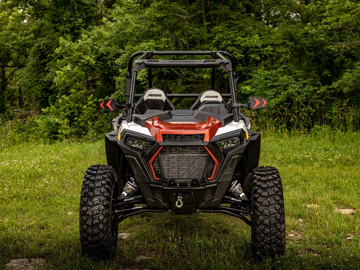 Run Huge Tires without a Huge Lift! SuperATV High Clearance 2 Forward Offset Front A-Arms for Polaris RZR XP 1000 2014+ - Black