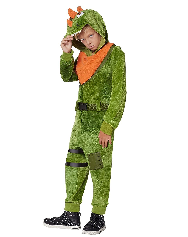 Kids Fortnite Plush Rex Costume Green