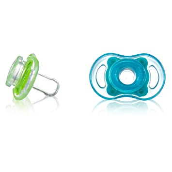 Born Free Bliss 6M+ Natural Shape Pacifier, 2-Pack (Blue & Green)