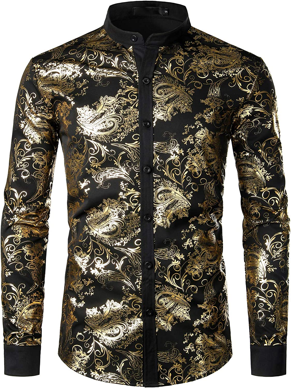 JOGAL Henley Camisas para hombre con estampado de cachemira ...