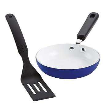 Silverstone Ceramic Nonstick Aluminum Cookware Mini Skillet And Turner Set Ocean Blue Cxmini