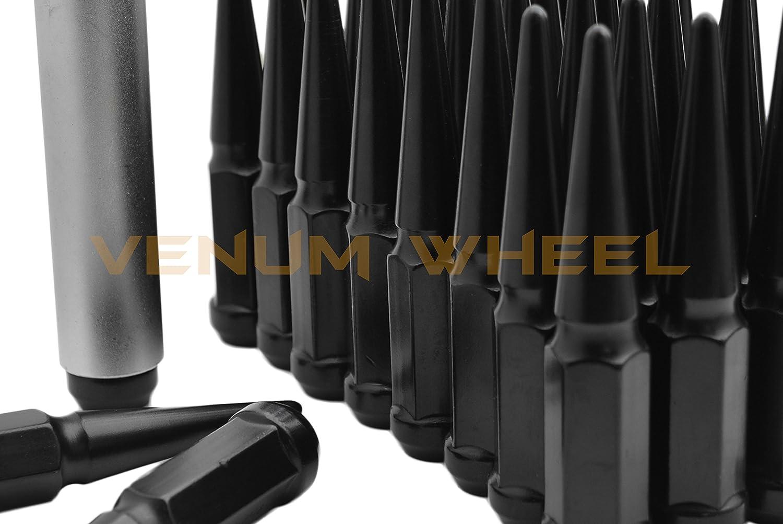 1 Special Design Key 24 Pc Chevy Silverado GMC Sierra 1500 Black Spike Lug Nuts 14x1.5 Spiked Metal Lug Nuts Solid 1 Piece 4.5 Tall Acorn Lug Nut Aftermarket Wheels Heavy Duty Made in USA