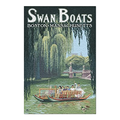 Boston, Massachusetts - Swan Boats (Premium 500 Piece Jigsaw Puzzle for Adults, 13x19, Made in USA!): Toys & Games