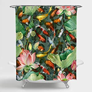 MitoVilla Watercolor Asian Garden Pond Shower Curtain for Zen Spa Bathroom Decor, Carp Koi Fish with Lotus Flower Bathroom Accessories with Hooks, Gifts for Women and Girls, Green, Red, 72