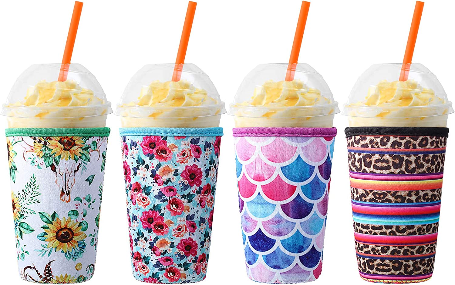 4 Pieces Reusable Iced Coffee Sleeve Neoprene Cup Holders Drinks Insulator Sleeve for 32 oz Cold and Hot Beverages, 4 Styles
