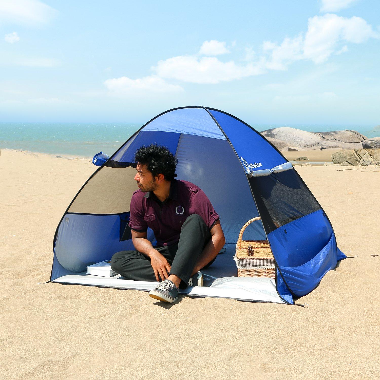 WolfWise UPF 50+ Abris de Plage Pop Up Parasol de Plage Tente Instantanée en Plein air Sportive en Plein Air Portable Anti-UV Tente de Plage Tente Instantanée Portable