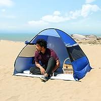 WolfWise Pop up Strandmuschel, UV Schutz 2 Personen Familien Strandzelt, Baby Strand Sonnenschirm Wurfzelt, Kleines Packmaß Tragbar, Blau