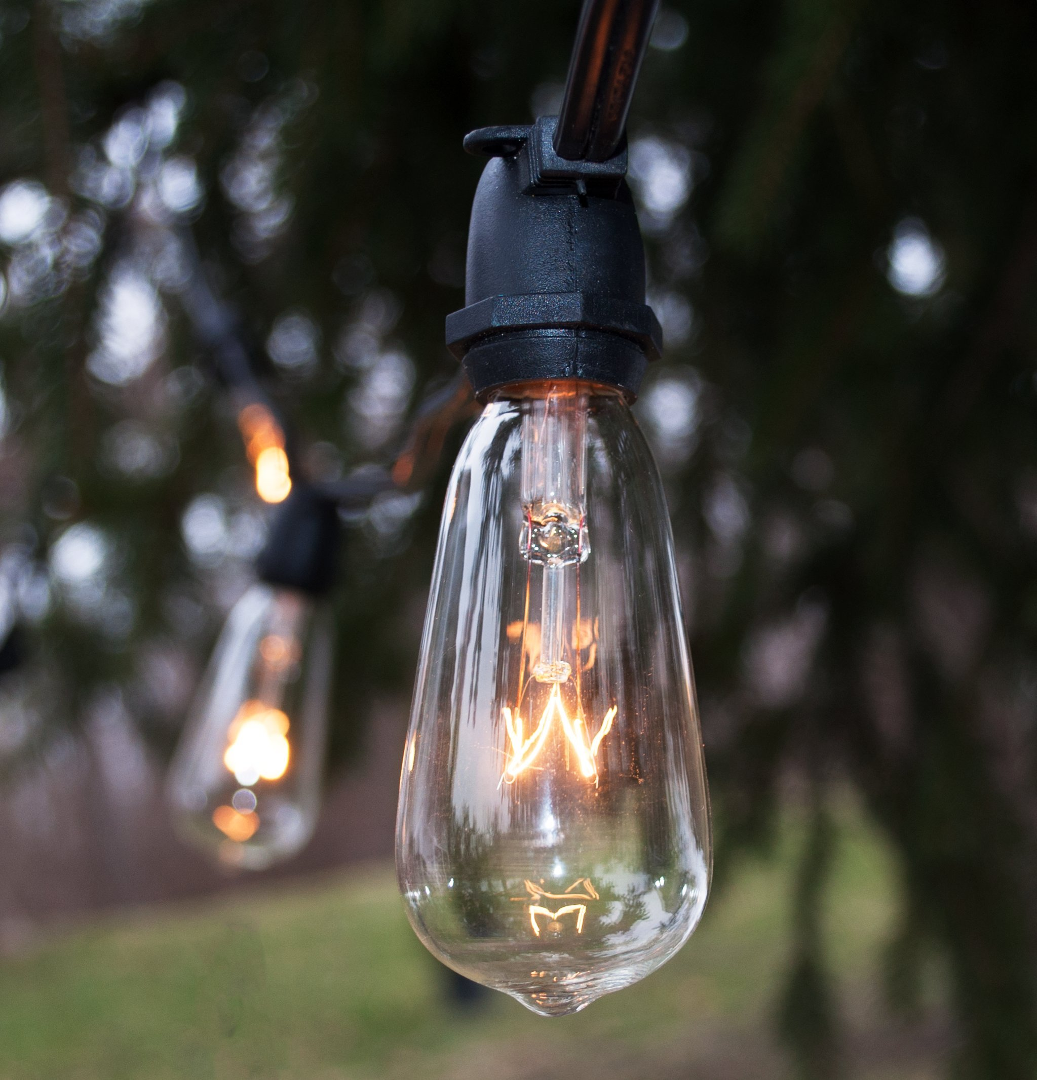 Hometown Evolution, Inc. Vintage Outdoor Patio Deck String Lights (100 Foot, ST40 Clear Bulbs - Commercial Black Wire)