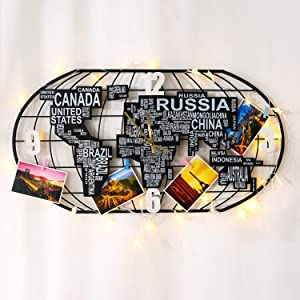 KINBEDY Large Metal Wall Clock with MDF World Map Decoration, Silent Movement with DIY LED Light Strip and Postcard,Beautiful Wall Art Big Decorative Wall Clock for Living Room,Bedroom,Office.