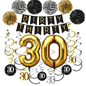 Amazon.com: Famoby Dirty Thirty Banner con pompones 30th ...