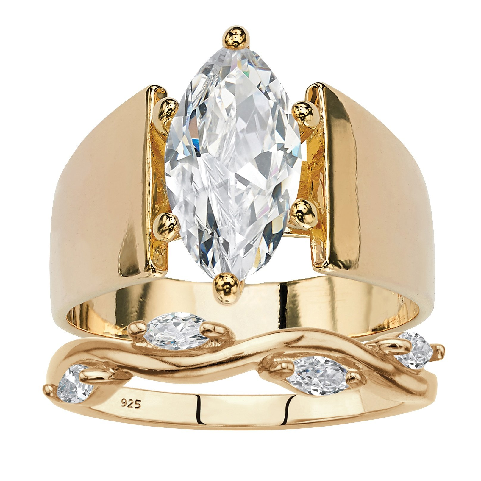Palm Beach Jewelry Round Cubic Zirconia 2-Piece Wide Band Solitaire Vine Wedding Ring Set 2.88 TCW 14k Yellow Gold- Size 7