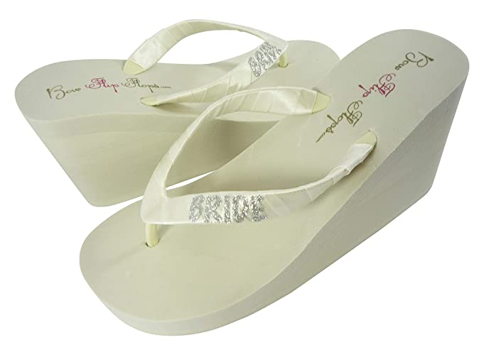 a5e22cd36f00 Amazon.com  Customizable Glitter Bride Wedge Flip Flops Wedding Sandals  Ivory White in Low or High Heel  Handmade