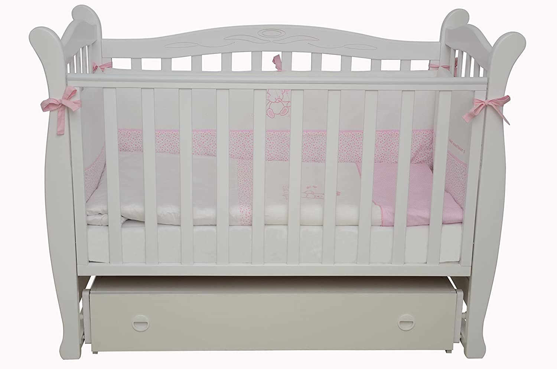 Babybett Kinderbett Weiß 120x60 Buche Massivholz Neu, London 15.06
