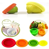 Lios Home Improvment Reusable Silicone Food Savers & FREE Silicone Food Wrap! Fruit and Vegetable Huggers,Storage Containers, Set of 4 and 1 Silicone wrap, BPA-Free. (Assorted Colors)
