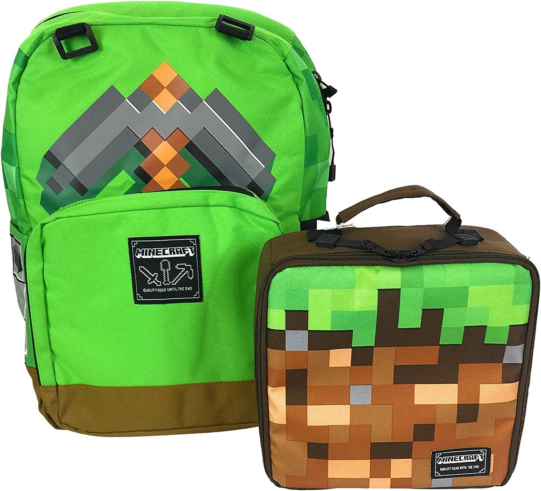 Jinx Minecraft Pickaxe Adventure Backpack Dirt Block Lunch Bag Set Amazon Ca Clothing Accessories