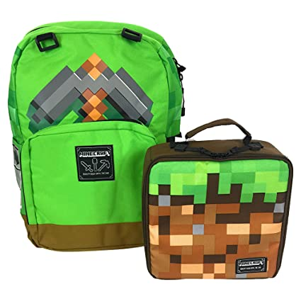 3d4c7d2131 Minecraft 16 Backpack Lunchbox Set Cubes Survival Creative Green Brown 2  Piece  Amazon.in  Bags