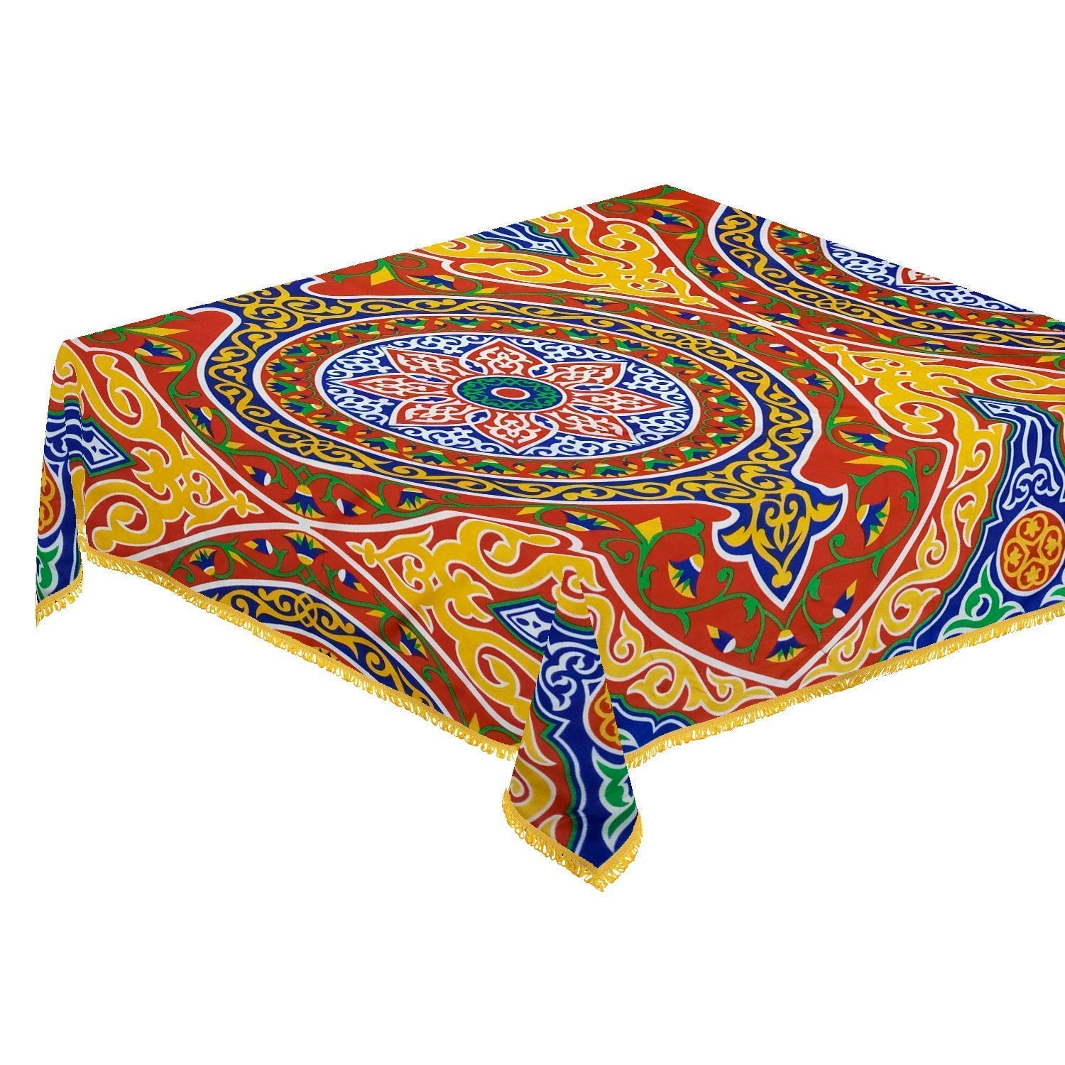 CraftiEgypt Egyptian Ramadan Decorations Decorative Colorful Red Printed Khayamiya Pattern Cotton Polyester Tablecloth Table Cloth Cover Top Dining Room Kitchen Square 55 Inches