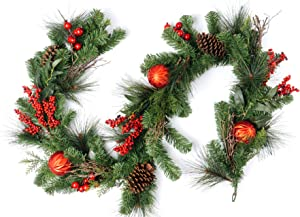 CraftMore Madison Pine Garland with Red Christmas Ornaments Berries and Pine Cones 6'