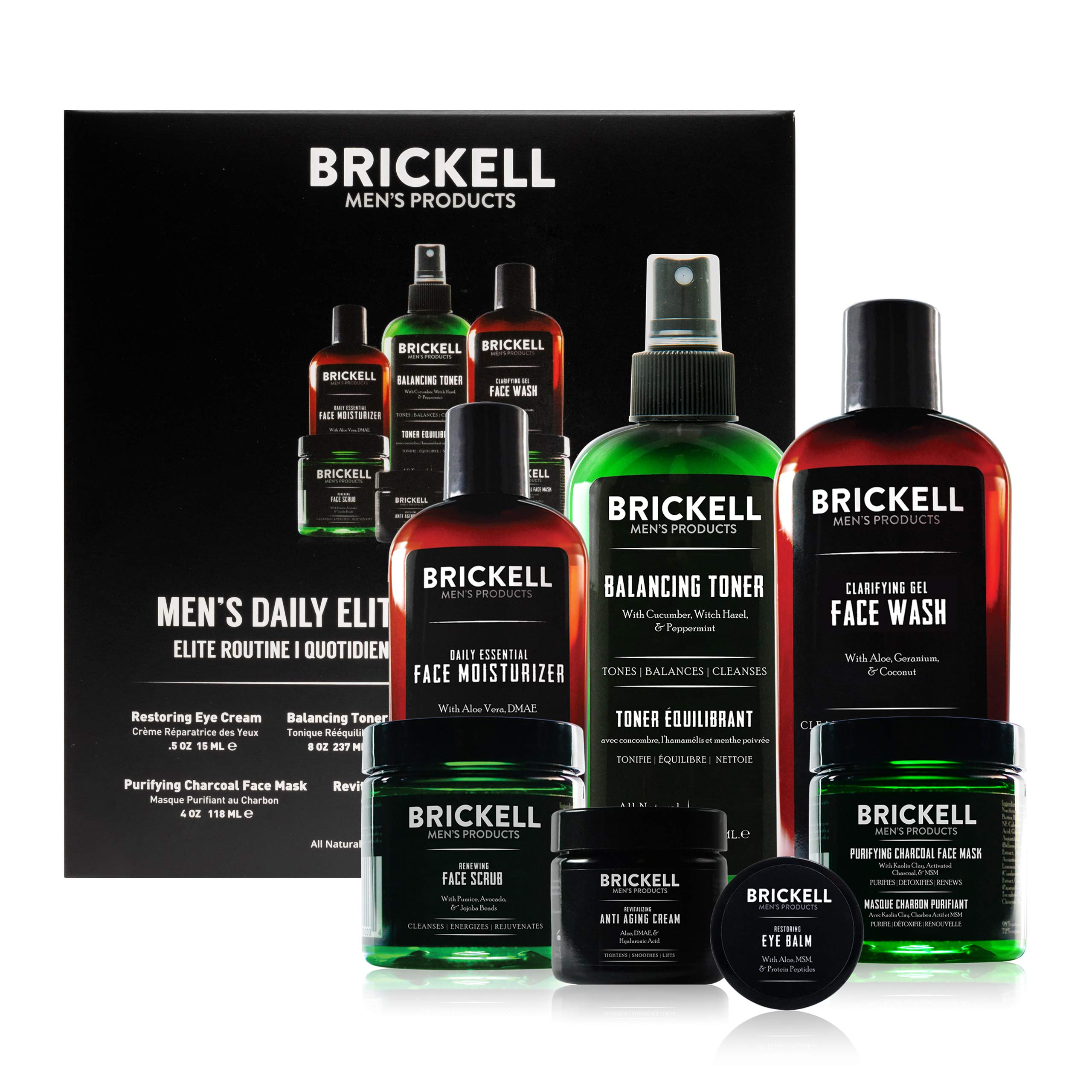 Brickell Men's Products Daily Elite Face Care Routine I - Toner, Gel Facial Wash, Face Scrub, Anti-Aging Night Cream, Eye Cream, Charcoal Mask & Moisturizer - Natural & Organic - Scented
