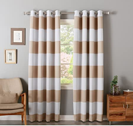 2 Piece 84 Inch Beige White Rugby Stripes Curtains Pair Panel Set Light Brown Drapes