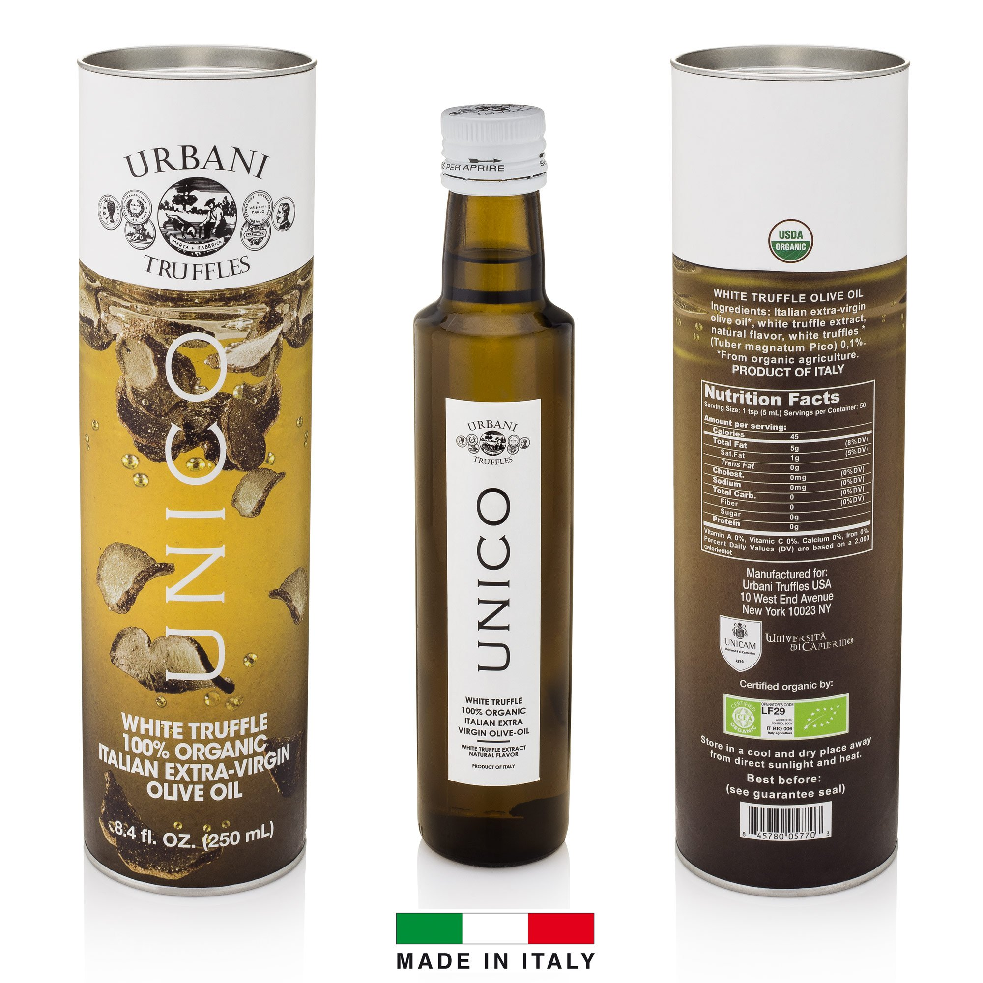 Italian White Truffle Extra Virgin Olive Oil - 8.4 Oz - by Urbani Truffles. Organic Truffle Oil 100% Made In Italy Without Chemicals And With Real Truffle Pieces Inside The Bottle. No Artificial Aroma by Urbani Truffles