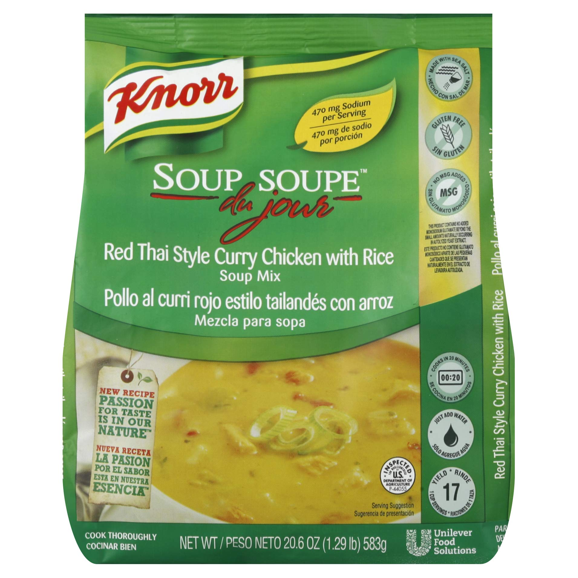 Knorr Professional Soup du Jour Red Thai Style Curry Chicken with Rice Soup Mix Gluten Free, No added MSG, 0g Trans Fat per Serving, Just Add Water, 20.6 oz, Pack of 4 by Knorr