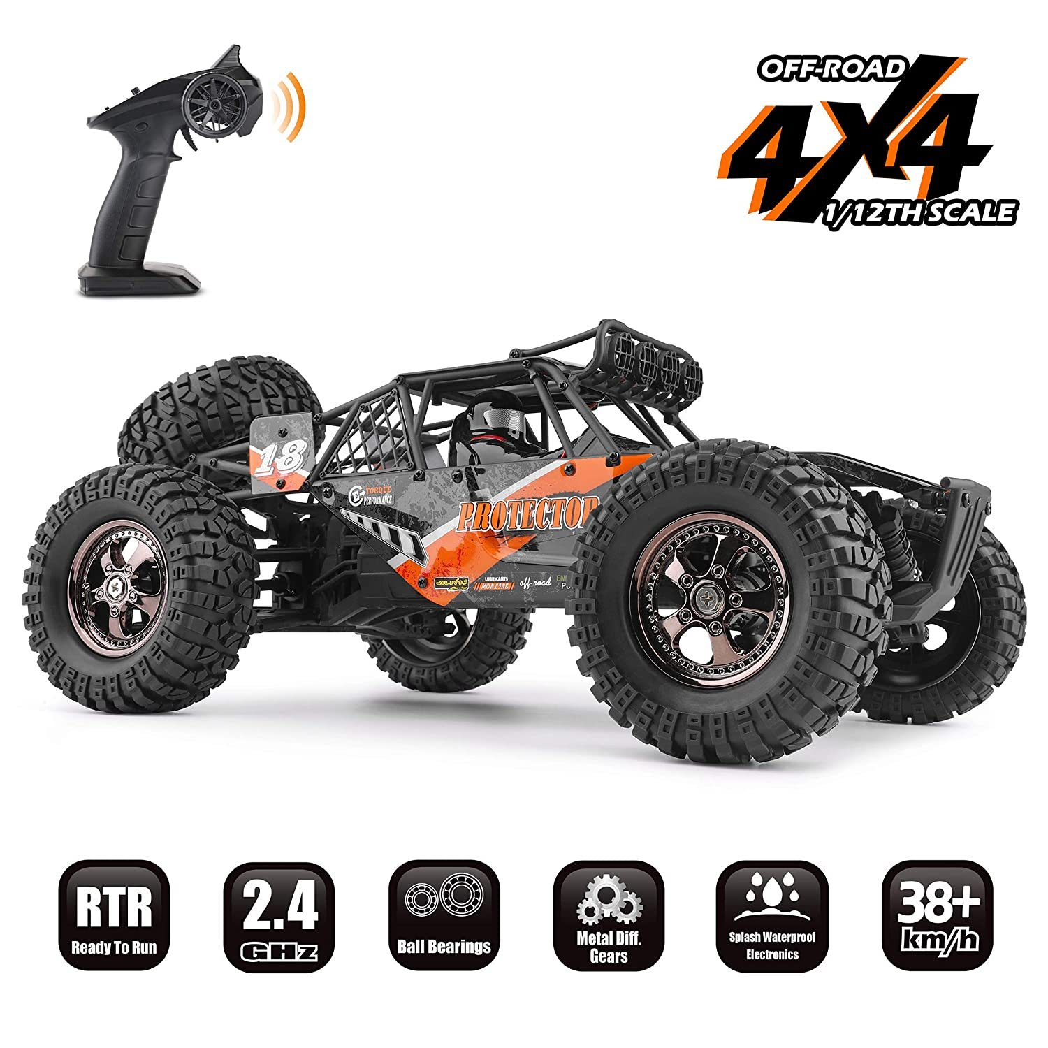 RC Cars Protector 1/12 Scale 4WD Off-Road Buggy 38+KM/H High Speed LED Lights