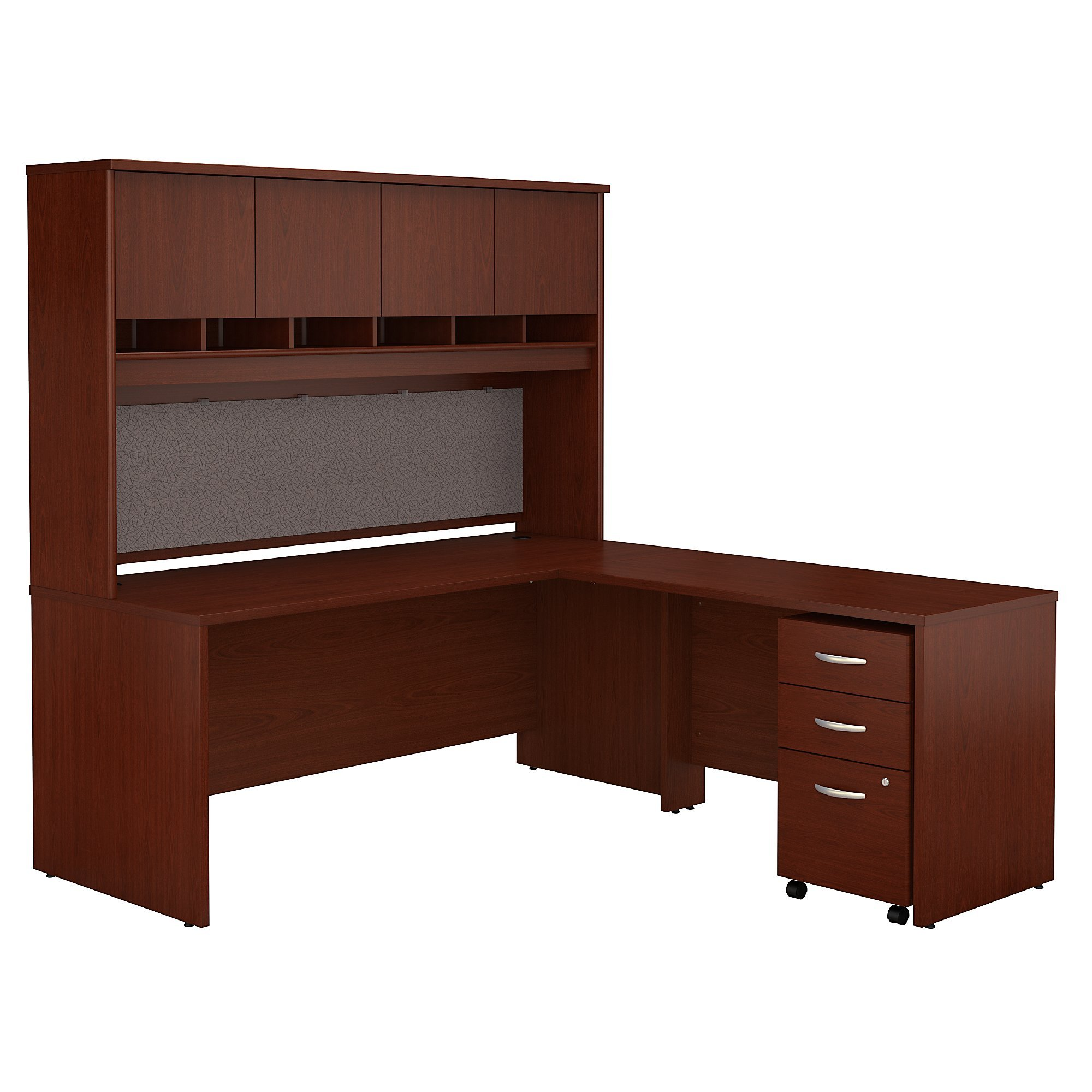 Bush Business Furniture Series C 72W L Shaped Desk with Hutch and Mobile File Cabinet in Mahogany