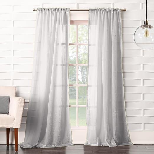 Amazon Com No 918 16872 Tayla Crushed Texture Semi Sheer Rod Pocket Curtain Panel 50 X 63 Gray Home Kitchen