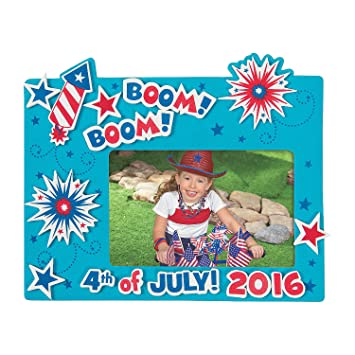Amazon.com: 4th of July Foam Picture Frame Craft Kit-makes 12 ...